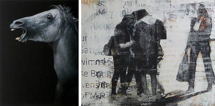 Left: James Guppy, 'Mazeppa' 2010, acrylic on linen, 122 x 92cm Right: Robert Boynes, 'Cones of Silence' 2010, acrylic on canvas, 120 x 150cm