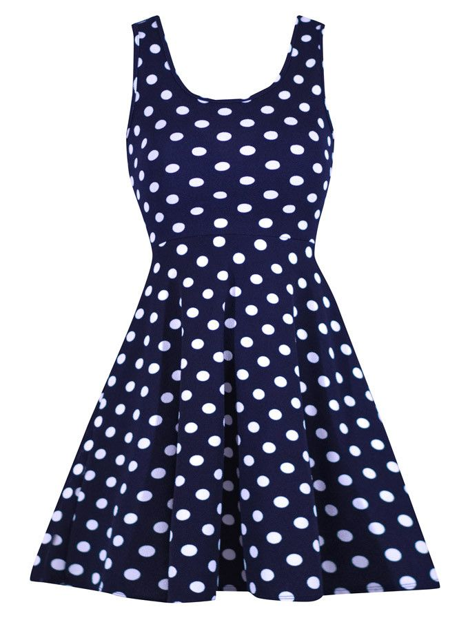 This simple a-line polka dot dress is perfect for dressing up or down. Features a scooped neck line and fitted waist. The fabric is super stretchy giving an easy and flattering fit!