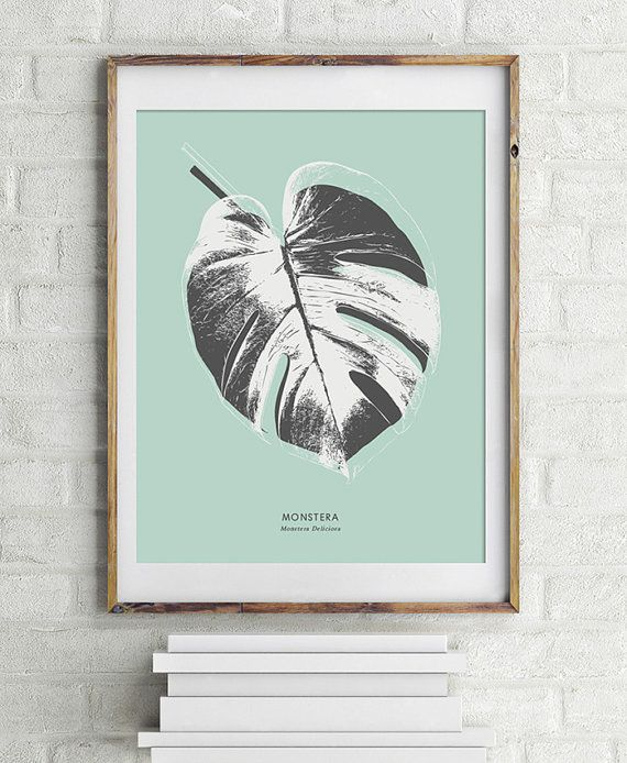Monstera Deliciosa, Cheese Plant Leaf - PRINTABLE FILE. Black Mint Botanic…