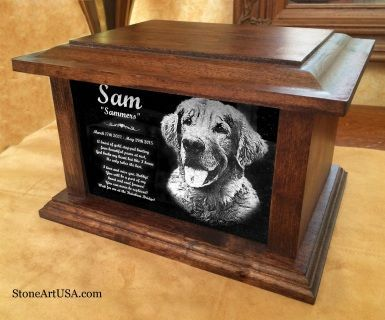 Custom made cremation urns for pets. Oak and Laser Etched Granite - StoneArtUSA.com