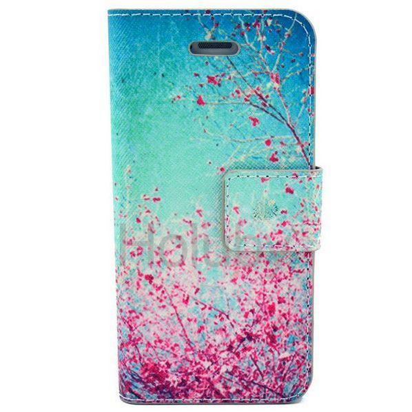 Quermuster-Mappen-Art-Standplatz-magnetischer Schlag-PC   PU-Leder Tasche für iPhone 5C (rot blühende Blumen-Muster)