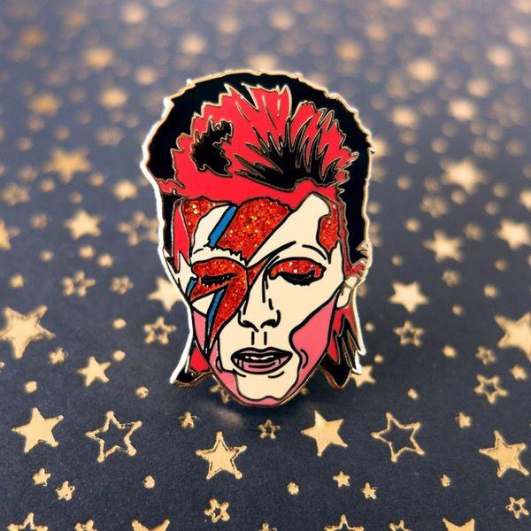 Image of David Bowie Aladdin Sane glitter pin