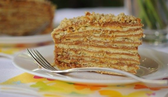 Torta Mil Hojas / Thousand layers cake. (caramel, walnuts, orage juice filling spread in thin Napoleon like layers.)
