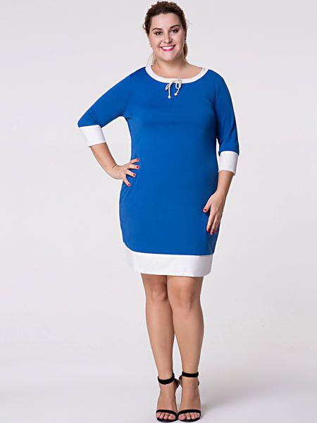 Buy Round Neck  Bowknot  Color Block Plus Size Bodycon Dresses online with cheap prices and discover fashion Plus Size Bodycon Dresses at Fashionmia.com.