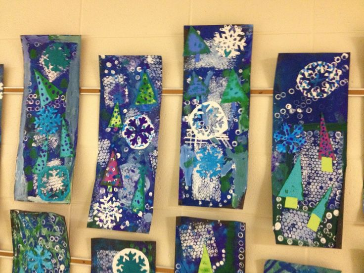 WHAT'S HAPPENING IN THE ART ROOM??: 5th Grade Winter Collages 2 day project. Print background first, collage second.