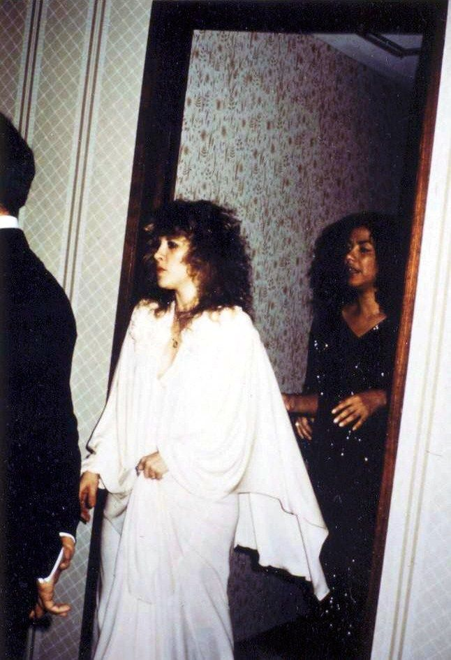 Stevie  ~ ☆♥❤♥☆ ~ arriving at the 10th Annual American Music Awards at Shrine Auditorium in Los Angeles, dressed in all white, during her 1983 'The Wild Heart' tour with her personal assistant Rebecca Alvarez