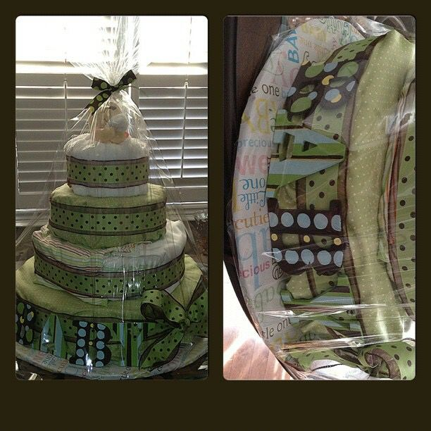 Green and brown diaper cake #madewithlovebyjen