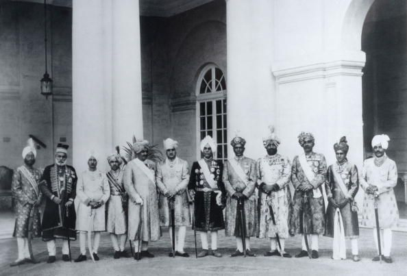 Royalty. India. Circa 1920's. A photograph taken at the Silver Jubilee of Maharaja Jagatjit Singh of Kapurthala. From the left, the rulers of Kalsia, Loharu, Mandi, Nawanagar, Jammu and Kashmir, Kapurthala, Alwar, Patiala, Bikaner, Bharatpur and Palanpur.
