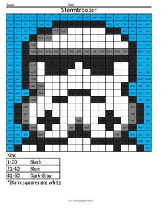Stormtrooper- Star Wars Multiplication coloring activity