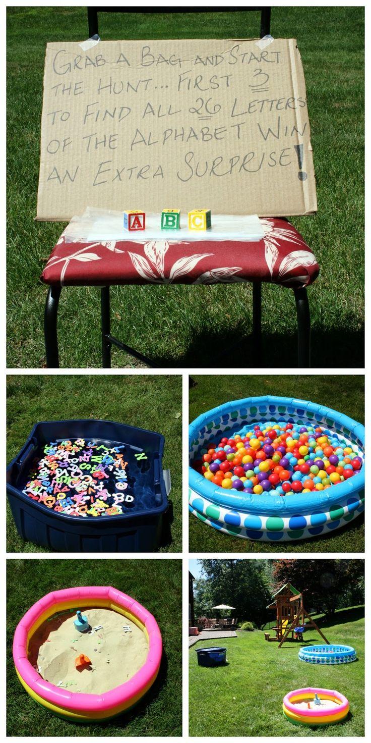 ABC Alphabet themed toddler birthday party scavenger hunt