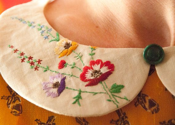 embroidered peter pan collar - detachable collar  - vintage reworked - one of a kind    $38.17