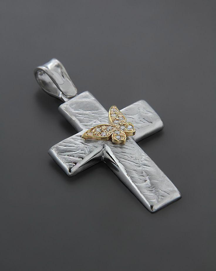 Σταυρός βαπτιστικός Λευκόχρυσος K14 με κίτρινο Χρυσό & Ζιργκόν