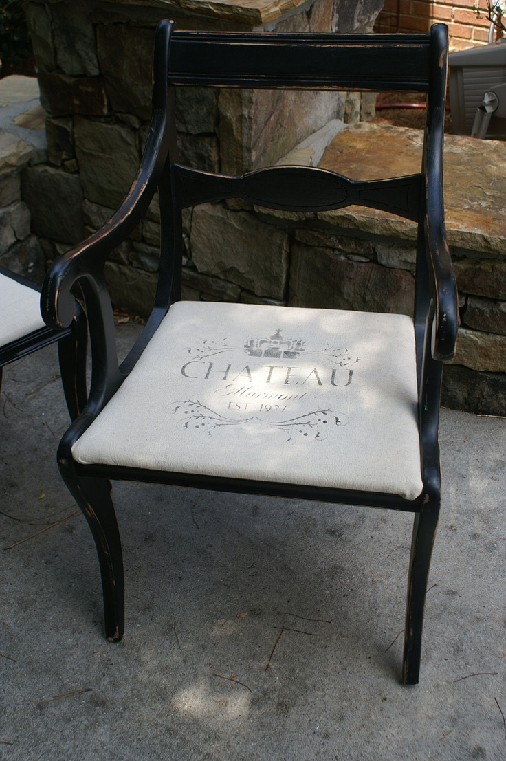 DIY Fabric With French Stencil For Pillow Or Chair Cover