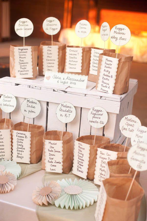 kraft paper bags seating chart http://weddingwonderland.it/2015/03/tableau-de-mariage-da-copiare.html