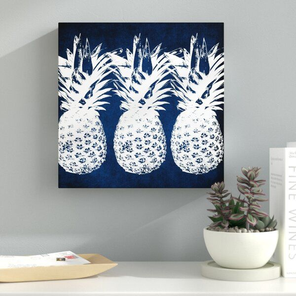 Indigo Pineapple Graphic Art On Wrapped Canvas In 2020 Pineapple Graphic Graphic Art Pineapple Wall Art