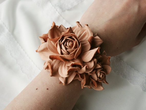 Leather rose flower bracelet ( - peach or  beige)