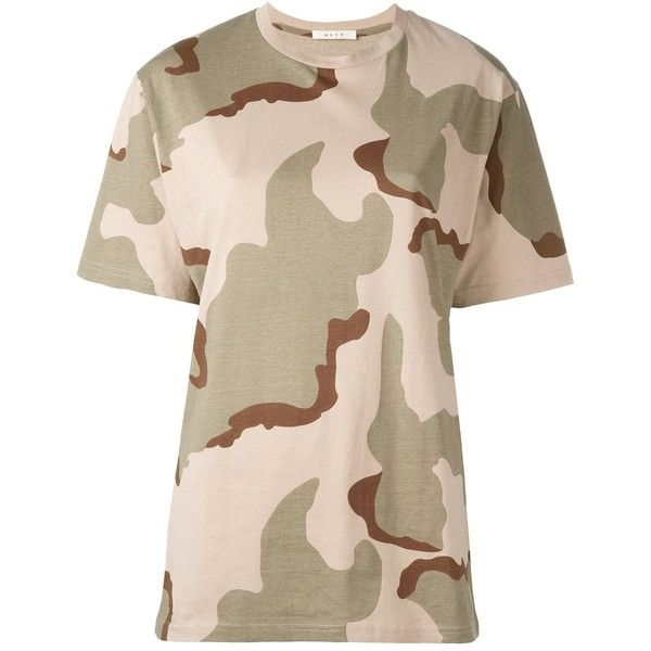 Alyx 'Camouflage' T-shirt ($115) ❤ liked on Polyvore featuring tops, t-shirts, camoflage t shirt, camo tee, green top, camo t shirt and camo print t shirt