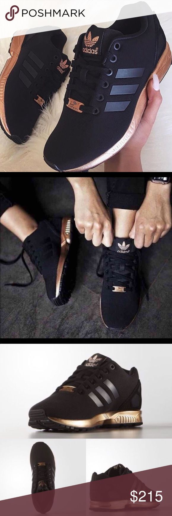 Adidas Zx Flux Black and Rose Gold Limited Edition. Sold out. Highly sought after. Brand new never worn. 9 in women's. As seen on Pinterest.  NOTE: These run a half size to a one whole size big. They are too big for me and that's why I'm selling them. Brand New in Box. Adidas Shoes Sneakers