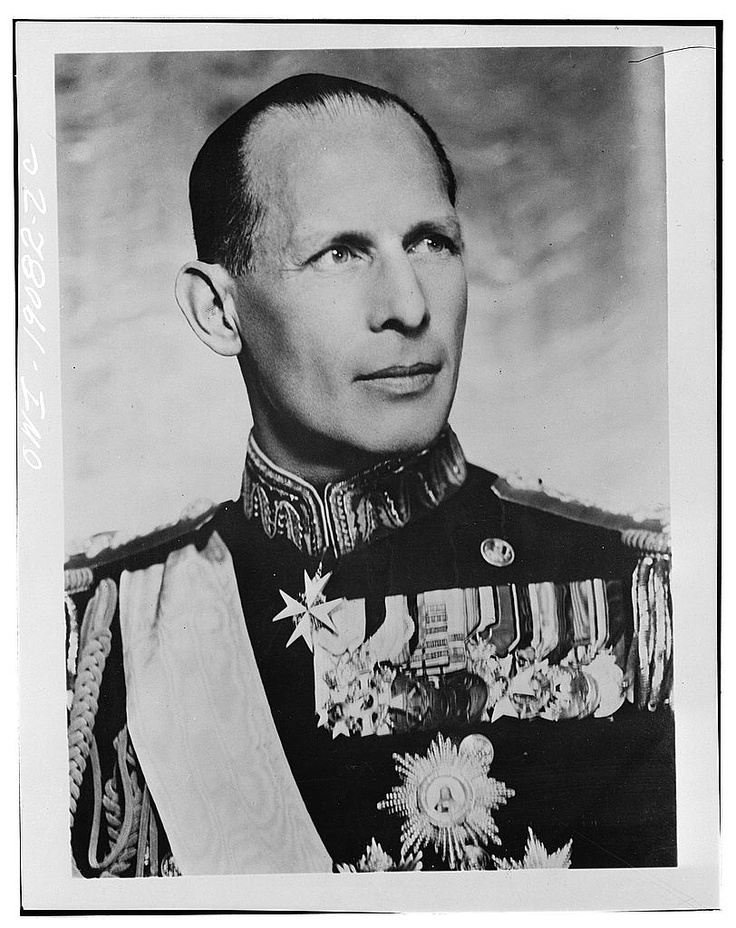 King George II of Greece, circa 1942. After the Germans entered Athens in April 1941, the King and the Greek Government evaded the enemy by arriving in Egypt.