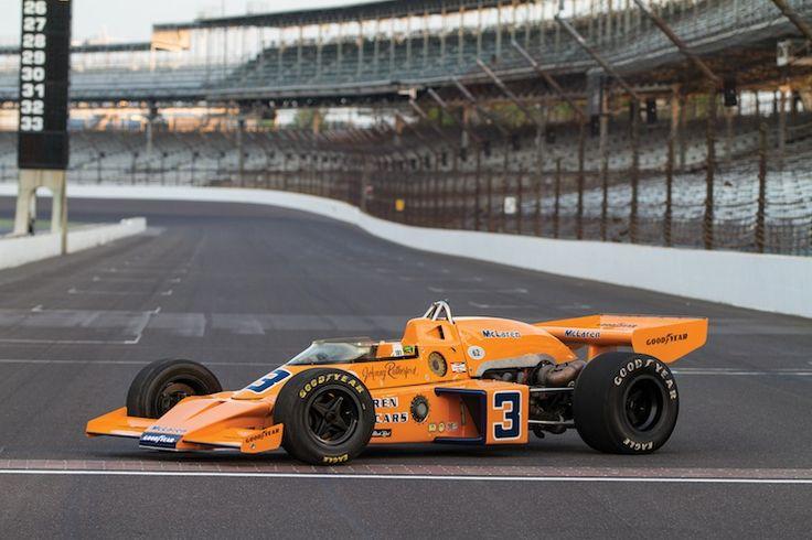 1974 Indy 500 McLaren-Offy M16C Indy Race Car winner Johnny Rutherford who started in 25th position..