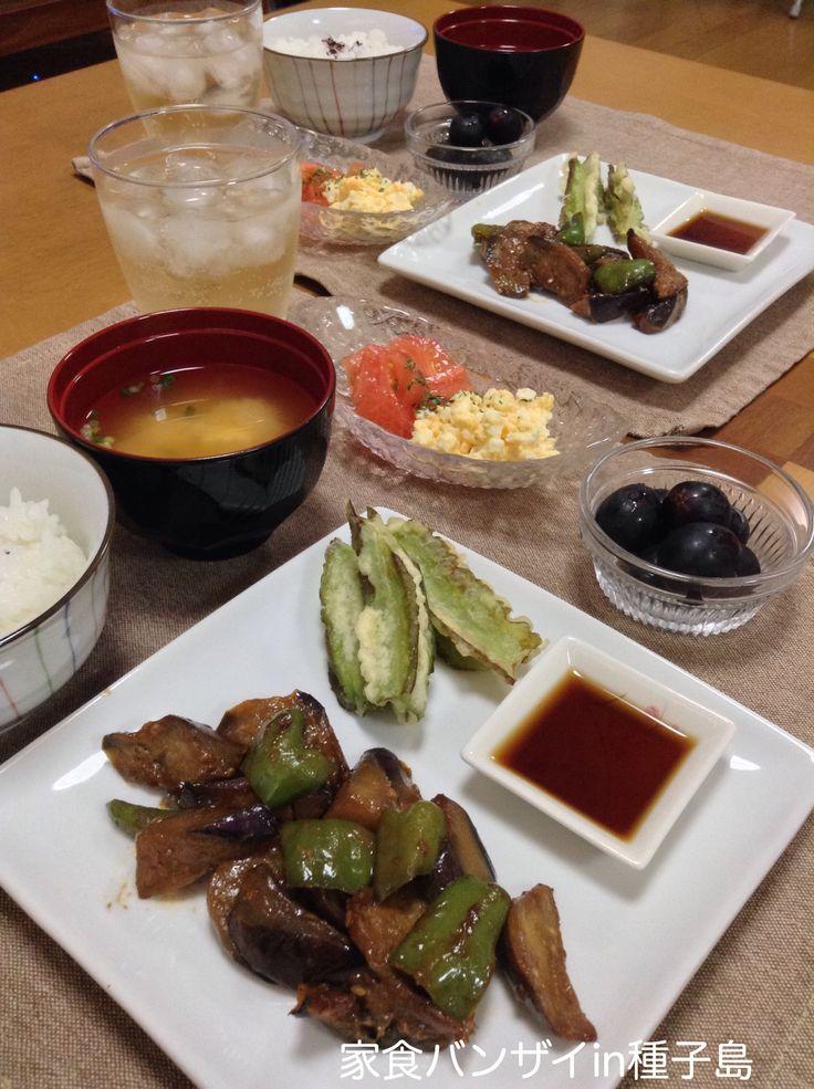 2015/8/15 夕食 ナス味噌と四角豆の天ぷら