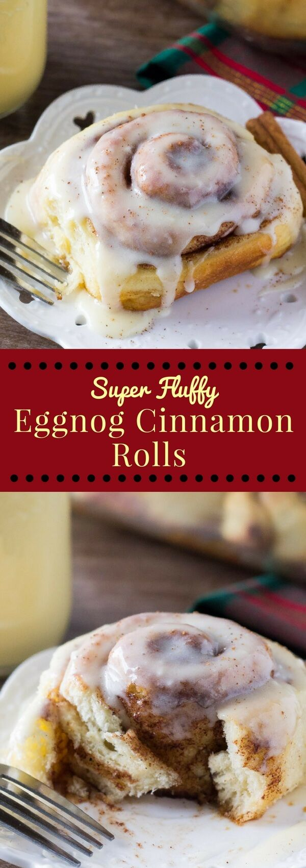 Cinnamon Rolls are filled with spices and drizzled with eggnog glaze ...