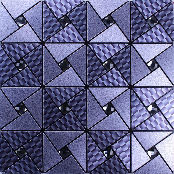 Metal glass diamond tile peel and stick wall tiles adhesive mosaic sheets cheap aluminum composite panel pinwheel patterns MAN105