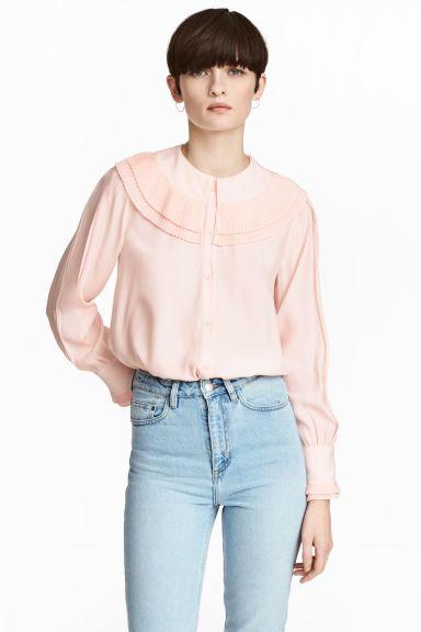 Bluzka z długim rękawem - Pudroworóżowy - ONA   H&M PL