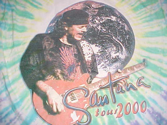Carlos Santana Tour 2000 Green Tie Dye Concert T-Shirt XL
