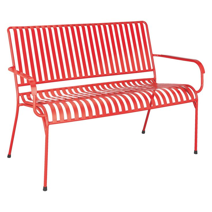 Charming INDU Red Metal Outdoor Bench