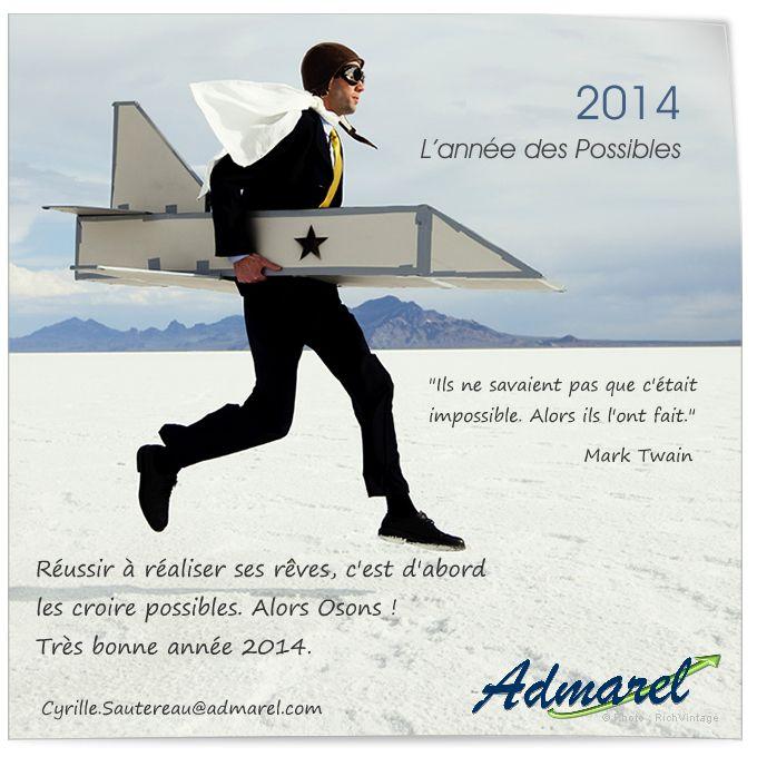 """En 2014, l'entreprise Admarel a, elle aussi, choisi l'ecard """"L'année des Possibles"""" pour souhaiter ses vœux de nouvel an.  L'intégration de son logo sous fond transparent est parfaite, et elle a très bien su exploiter les espaces disponibles pour insérer son message de voeux et une citation."""