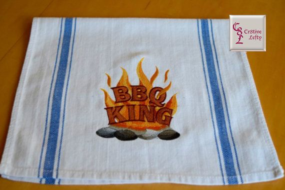 BBQ King Embroidered Tea Towel with Hanging Loop by Cr8tiveLefty