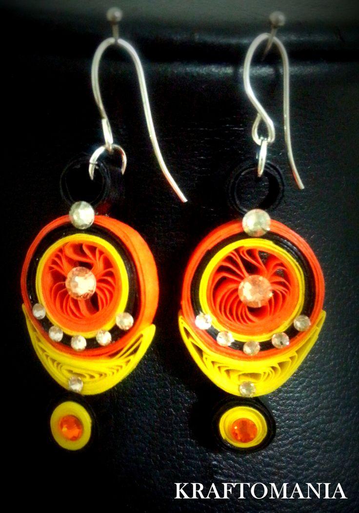 Handmade waterproof quilled earrings  material : acid free paper with swarovski flat base KM Q49