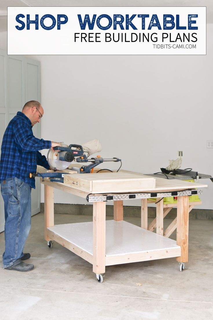 This rolling shop worktable is designed to hold and store your saws, compressors and other cutting and drilling tools. It will provide a convenient surface for wood cuts and building applications.