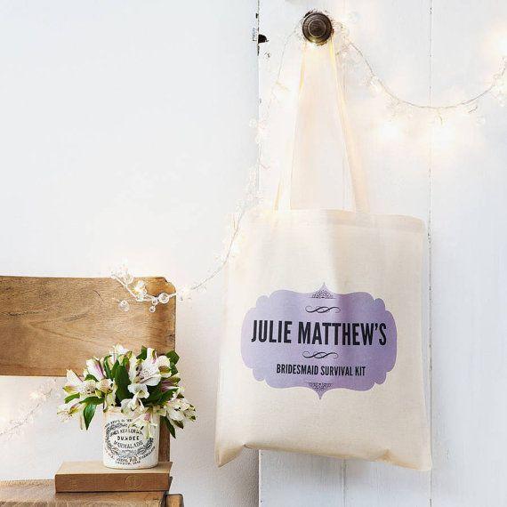 Bruidsmeisje Survival Kit Tote Bag - gepersonaliseerd cadeau voor bruidsmeisjes en meiden van eer