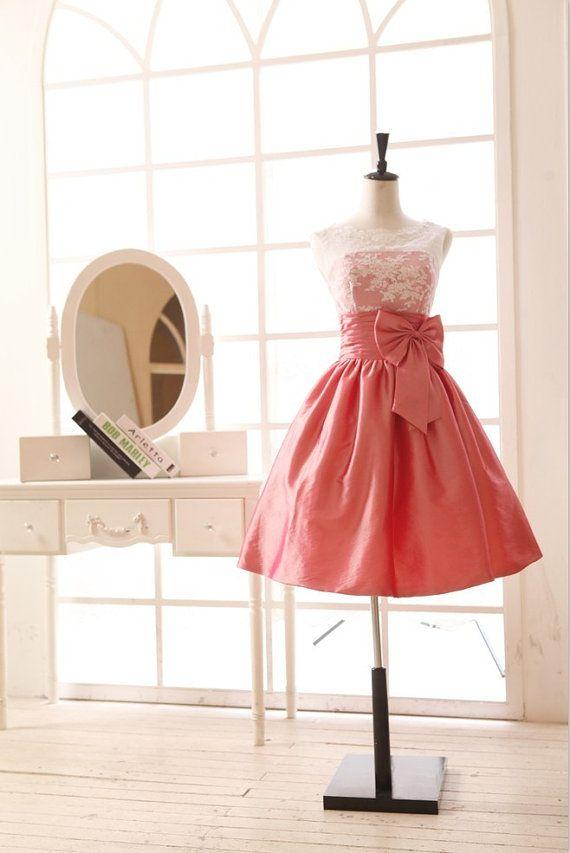 Lace Taffeta Wedding Dress Bridesmaid Dress Prom Dress V Back Knee Short Dress on Etsy, $119.00