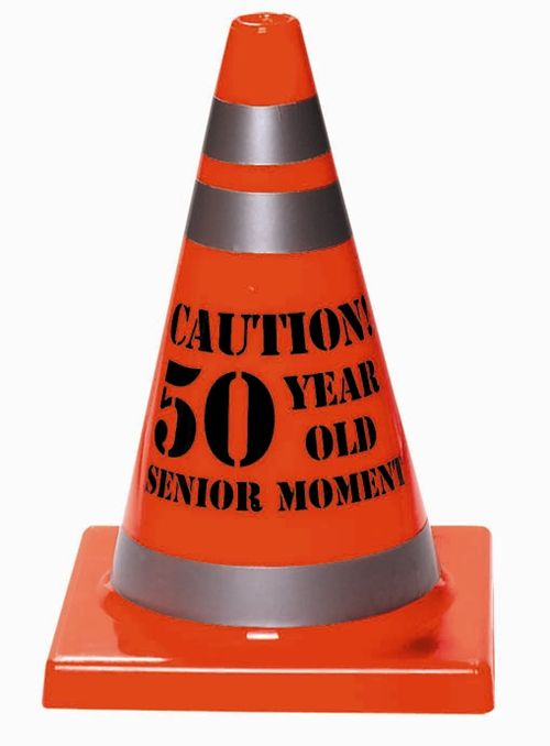 "Bright orange 7"" tall Senior Moment Safety Cone 50 allows you to protect guests, and the guest of honor, from the dangers of a Senior moment!  7"" tall by 4.5"" wide, accented in grey silver reflective stripes, and featuring the text ""Caution!  50 Year Old Senior Moment."""