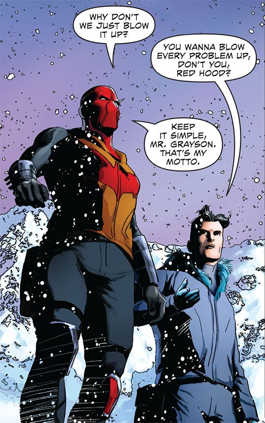 Jay doesn't like complicated things. Red Hood and Grayson.