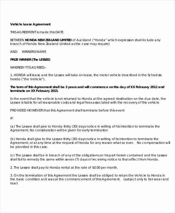 Simple Vehicle Lease Agreement Elegant 27 Lease Agreement Samples Lease Agreement Lease Rental Agreement Templates