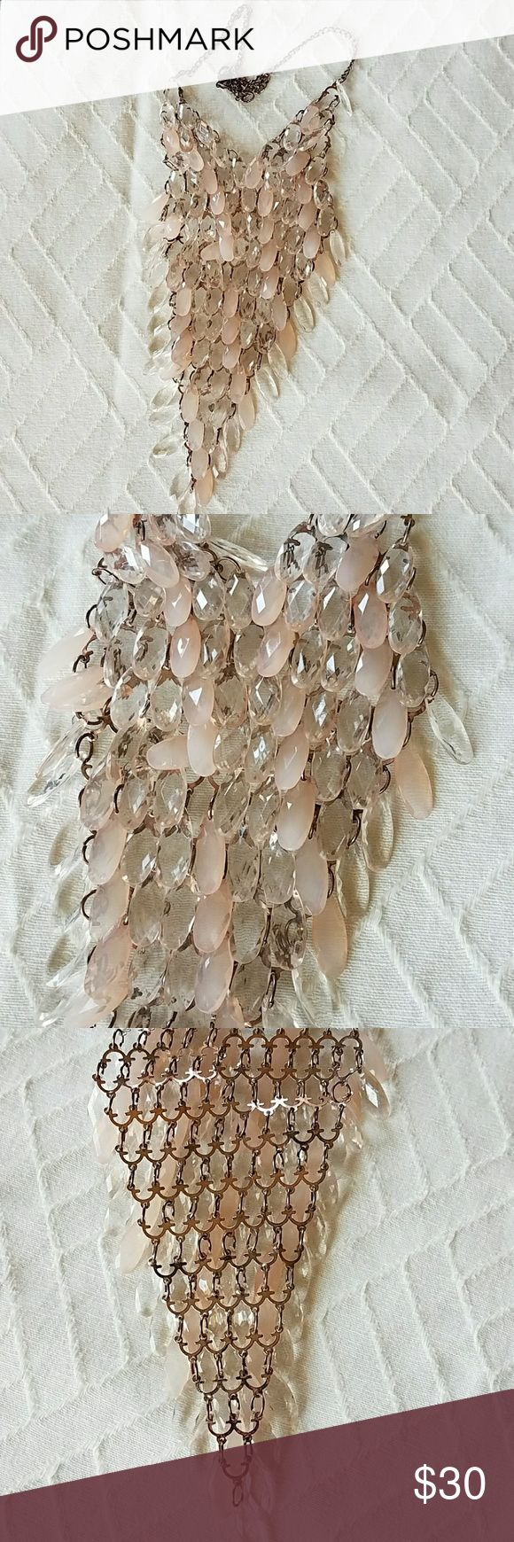 """VINTAGE PINK PLASTIC  BIB NECKLACE RUNWAY Appears a couple BEADS are missing  and some wear to finish.  Still wears gorgeous! Brassy color metal Bib length approx. 8"""" Jewelry Necklaces"""