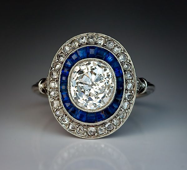 Art Deco 2 Ct Diamond Calibre Sapphire Engagement Ring - Antique Jewelry | Vintage Rings | Faberge Eggs