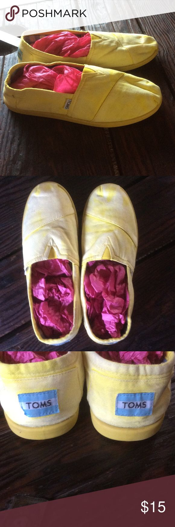 TOMS ONE FOR ONE YELLOW/white SLIP ONS TOMS ONE FOR ONE YELLOW SLIP ONS, good condition TOMS Shoes
