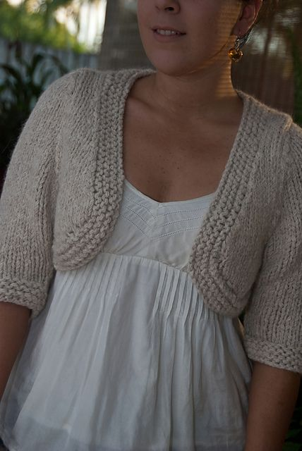 Ravelry: Crystal Bolero pattern by Martin Storey knit flat, set in sleeves