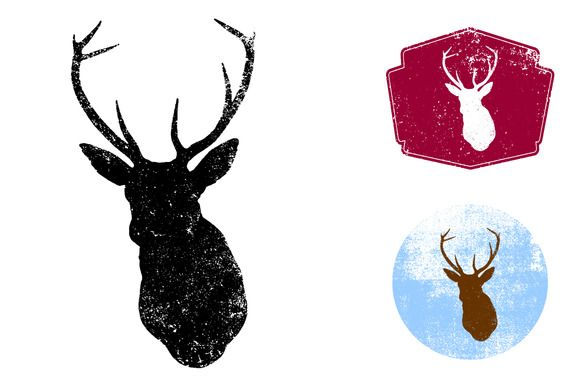 Textured Deer Head Vector by Offset on Creative Market