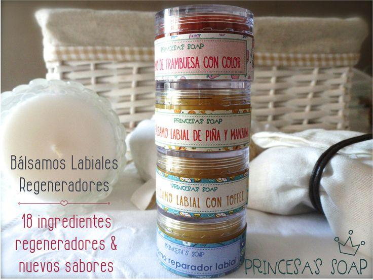 BÁLSAMO REPARADOR LABIAL CON AROMAS DELICIOSOS Elaborado con ingredientes naturales, repara los labios más estropeados por los cambios de temperatura o por el frío. www.princesassoap.es
