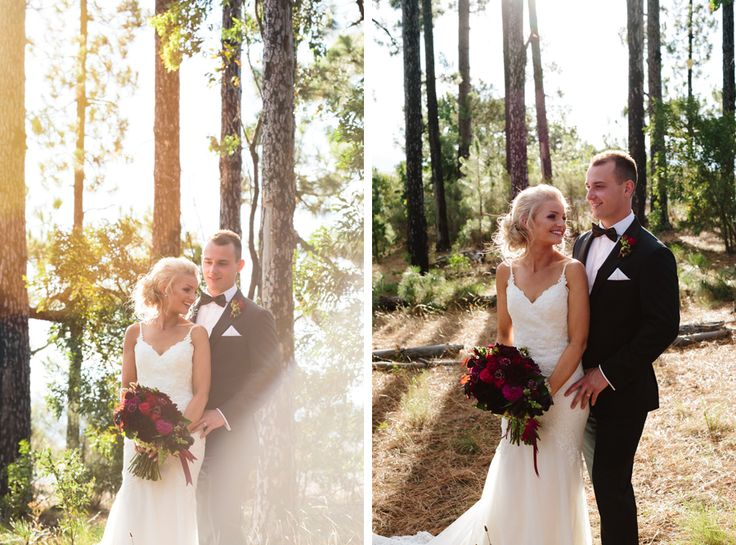 Bride and groom portrait forest at Mt Stromlo, Canberra