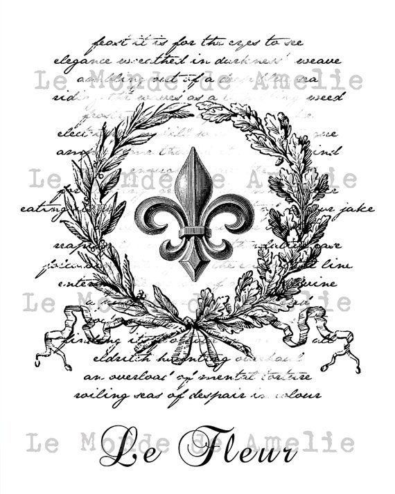 Fleur de Lis  vintage romantic large image paris france fleur de lys crown ephemera gift tag label napkins burlap pillow Sheet n.184