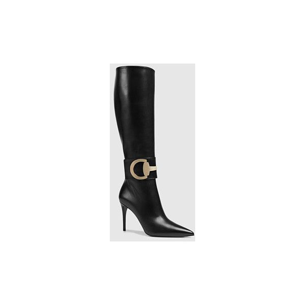 Gucci Rooney Leather Knee Boot ($1,495) ❤ liked on Polyvore featuring shoes, boots, black, new arrivals, women's shoes, leather boots, black boots, side zip boots, genuine leather boots and black knee-high boots