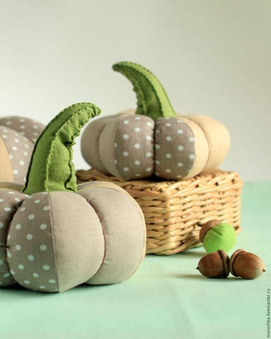 Fabric pumpkin for home decor / Комплекты аксессуаров ручной работы. Ярмарка Мастеров - ручная работа. Купить интерьерные тыквы Настроение Ретро. Бежевый, какао, латте, горошек, зеленый.
