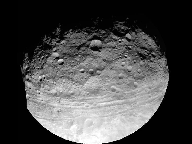 This full view of the giant asteroid Vesta was taken by NASA's Dawn spacecraft, launched Sept. 27, 2007, as part of a rotation characterization sequence on July 24, 2011, at a distance of 3,200 miles (5,200 kilometers).